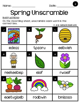 Unscramble It   Spring   Writing Centers   Vocabulary