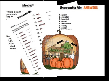 Unscramble Me Halloween Fun