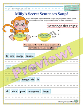 "Unscramble Milly's Sentence Soup to Form Sentences with ""Manger"" in French!"