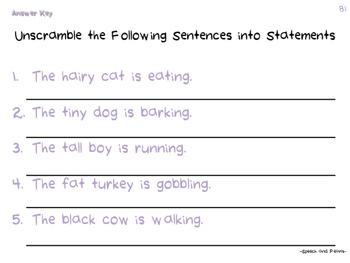Unscramble Sentences
