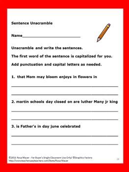 Unscramble Sentences Days Months Seasons Holidays