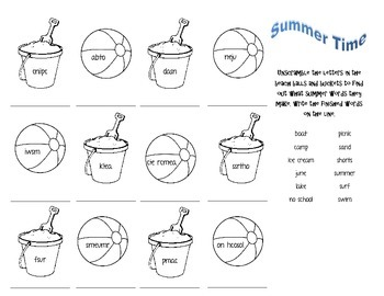 Unscramble Summer Time Words