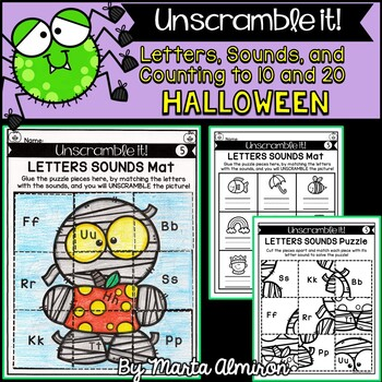 Unscramble it! {HALLOWEEN} {Letter Sounds, Counting to 10, and Counting to 20}