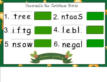 Unscramble the Christmas Words for the Smart Board