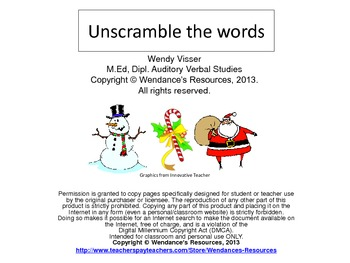Unscramble the Christmas words!