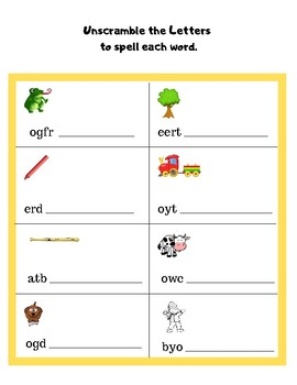Unscramble the Letters to Spell each Word