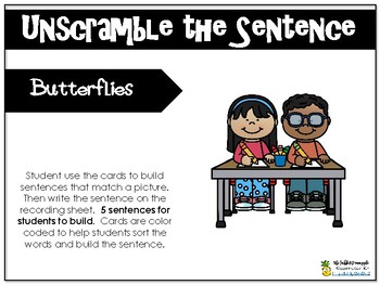 Unscramble the Sentence-Butterflies