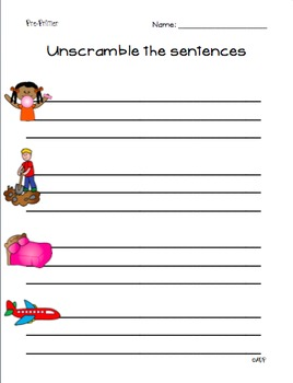 Unscramble the Sentences (Dolch: Pre-Primer List)