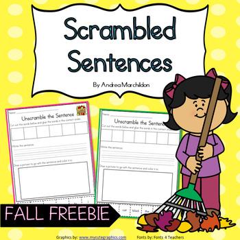 Unscramble the Sentences Fall Fun
