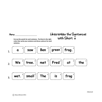 Unscramble the Sentences - Long and Short Vowels