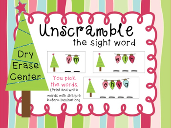 Unscramble the Sight Word_Christmas Themed