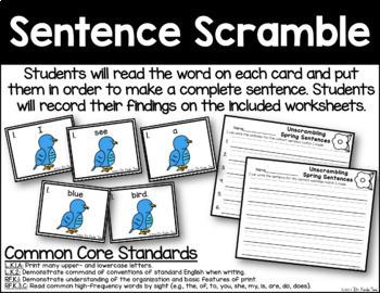 Unscrambled Spring Sentences