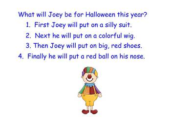 Unscrambling Sentences to Guess the Halloween Costume - Smart Board Lesson