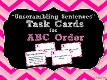Unscrambling Sentences Task Cards: Alphabetical/ABC Order/Dictionary Practice