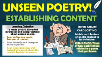 Unseen Poetry - Establishing Content!