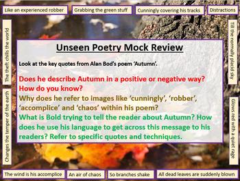 Unseen Poetry - Mock Exam Review