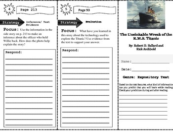 Unsinkable Wreck of the R.M.S. Titanic Close Read Trifold Unit 5 Week 2