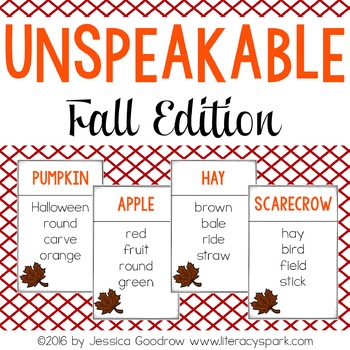 Unspeakable Fall Vocabulary Game