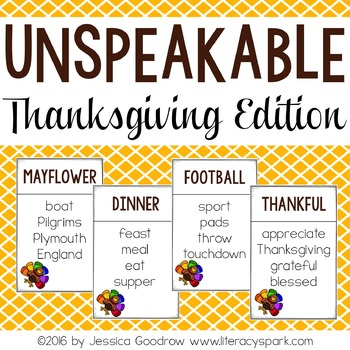 Unspeakable Thanksgiving Vocabulary Game