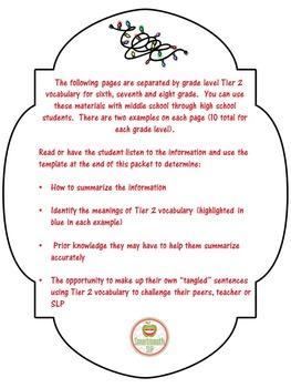 Social Skills:  Summarizing Christmas