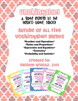 Math Vocabulary Game BUNDLE