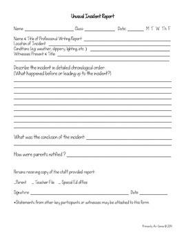 Unusual Incident Report Form (Printable & Editable)