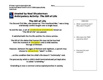 Unwind: Bill of Life (Anticipatory Activity)