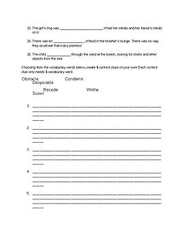Unwind Context Clues Worksheet