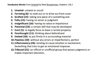FREEBIE Unwind by Neal Shusterman ch.1-2 vocabulary activities bundle