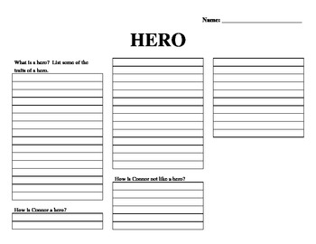 Unwind worksheet about Connor being a hero