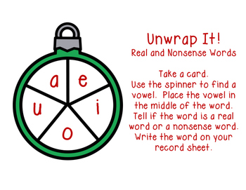 Unwrap It! Real and Nonsense Words ELA Center Activity