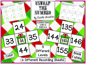 Unwrap the Number: Math Center for +10, -10, +1, -1 (3 levels) Color & BW