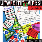 Holiday Verbs Bundle ~ Write the Room, Past and Present Sort, Sounds of -ed