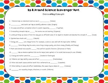Up & Around Science Scavenger Hunt: Crosscutting Concepts