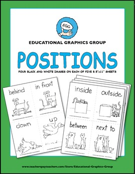 """Positions: Up Down and All Around - 4.25"""" x 5.5"""" Black and White"""