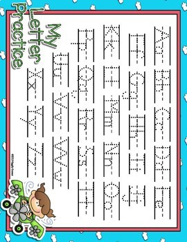 Up In The Air Full Sheet Dotted Letter with Line Alphabet Practice Mat Dry Erase