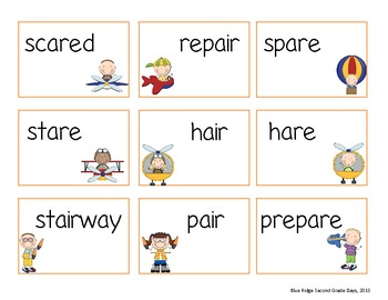Up In The Air: Word Work Activities for Air and Are
