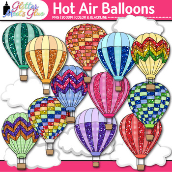 Hot Air Balloon Clip Art: Spring Graphics {Glitter Meets Glue}