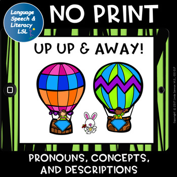 Up, Up, & Away, Pronouns, Concepts, and Descriptions, Hot Air Balloons, No Print