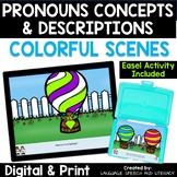 No Print Speech Therapy Pronouns Concepts and Descriptions | Hot Air Balloon