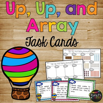 Array Task Cards Game for Second Grade, Math Centers, Multiplication