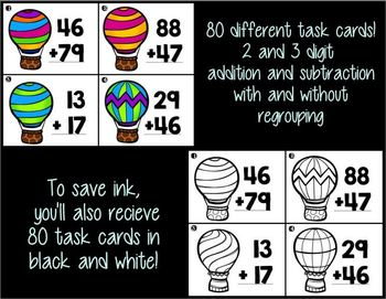 Up, Up, and Away! Addition and Subtraction Task Cards (double and triple digit)