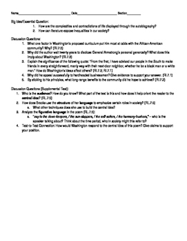 Up from Slavery Novel Guide Ch. 8-10