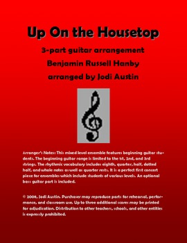 Up on the Housetop (sheet music for mixed level guitar ensemble)