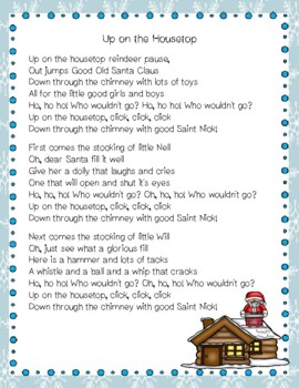Up on the Housetop Christmas Carol Close Reading Activity