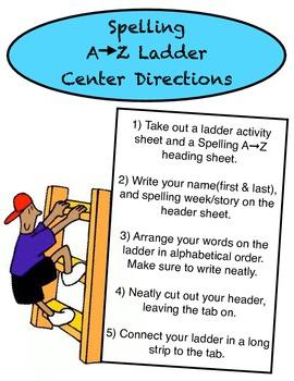 Up the Ladder! Alphabetical Order Spelling Center