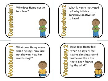 Up the Learning Tree by Marcia Vaughn Comprehension and Vocabulary Task Cards