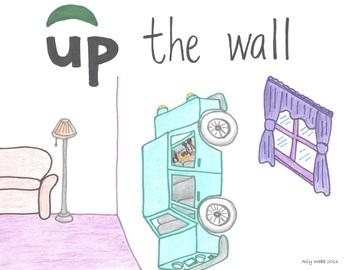 Up the Wall Cartoon--Printable Montessori Preposition/Grammar/Idiom Cards