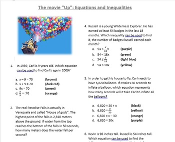 Up the movie questions: Equations and Inequalities