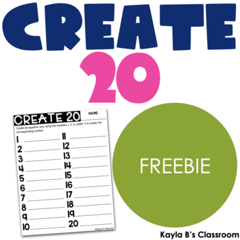 Create 20: A Math Freebie